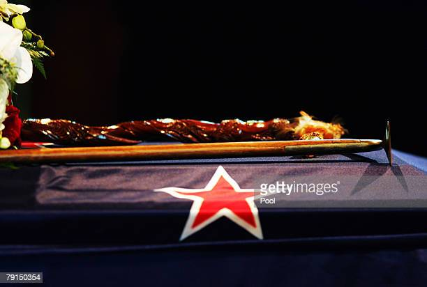 An ice axe rests on the casket during the State Funeral for Sir Edmund Hillary at St Marys Church on January 22 2008 in Auckland New Zealand Hillary...