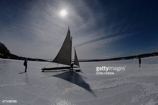 An ice boat prepares to sail on a frozen Hudson River March 7 2014 in Barrytown New York These historic 'ice yachts' some dating to the late 1800s or...