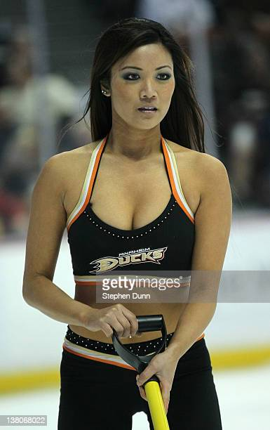 An Ice Girl works during a time out in the game between the Dallas Stars and the Anaheim Ducks at Honda Center on February 1 2012 in Anaheim...