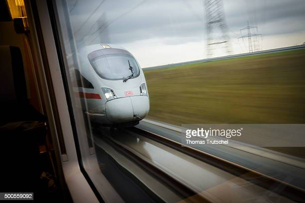 An ICE HighSpeed Train is seen during the journey from Erfurt to Leipzig on December 09 2015 in Leipzig Germany