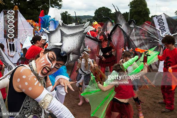An Ice Maiden during the final procession at the Green Man festival an independent music festival held annually in a stunning natural location in the...