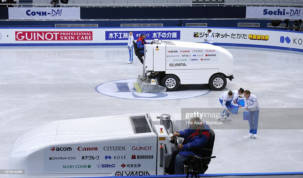 An ice resurfacer prepares the ice during the Grand Prix of Figure Skating Final 2012 at the Iceberg Skating Palace on December 6, 2012 in Sochi, Russia. Some skaters reported the link is warm and the ice melts.
