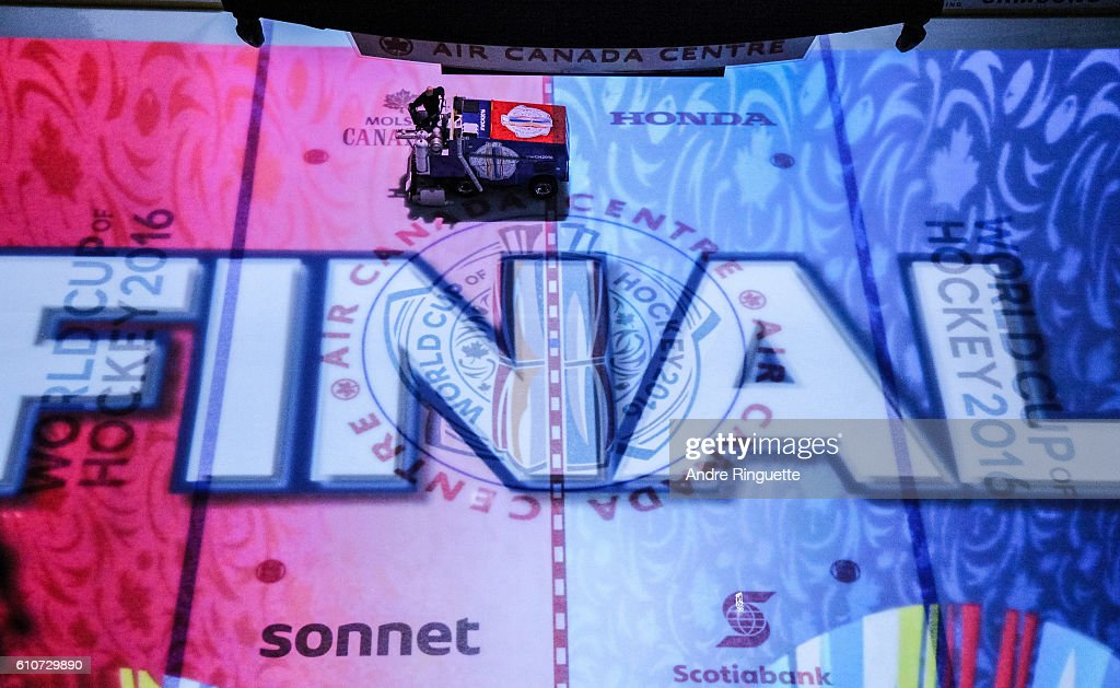 An ice resurfacing machine prepares the ice before Game One of the World Cup of Hockey final between Team Europe and Team Canada at the Air Canada Centre on September 27, 2016 in Toronto, Ontario, Canada.