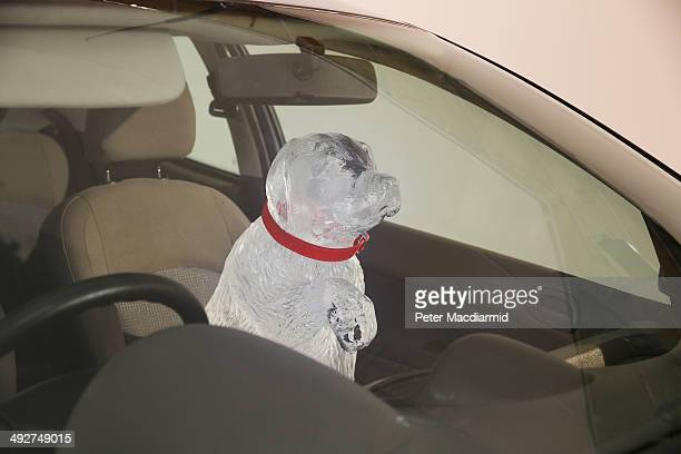 An ice sculpture is placed in a vehicle to warn of the dangers of leaving a dog in a hot car on April 9 2014 in London England Today Dogs Trust...
