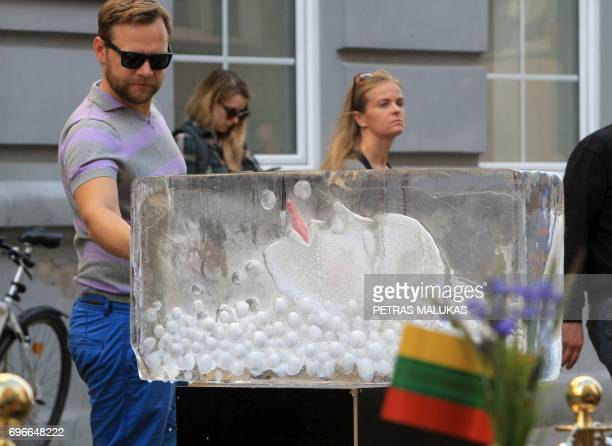An ice sculpture of Icelandic singer Bjork is unveiled in Vilnius on June 16 2017 during an annual celebration to pay homage to Iceland for it's role...