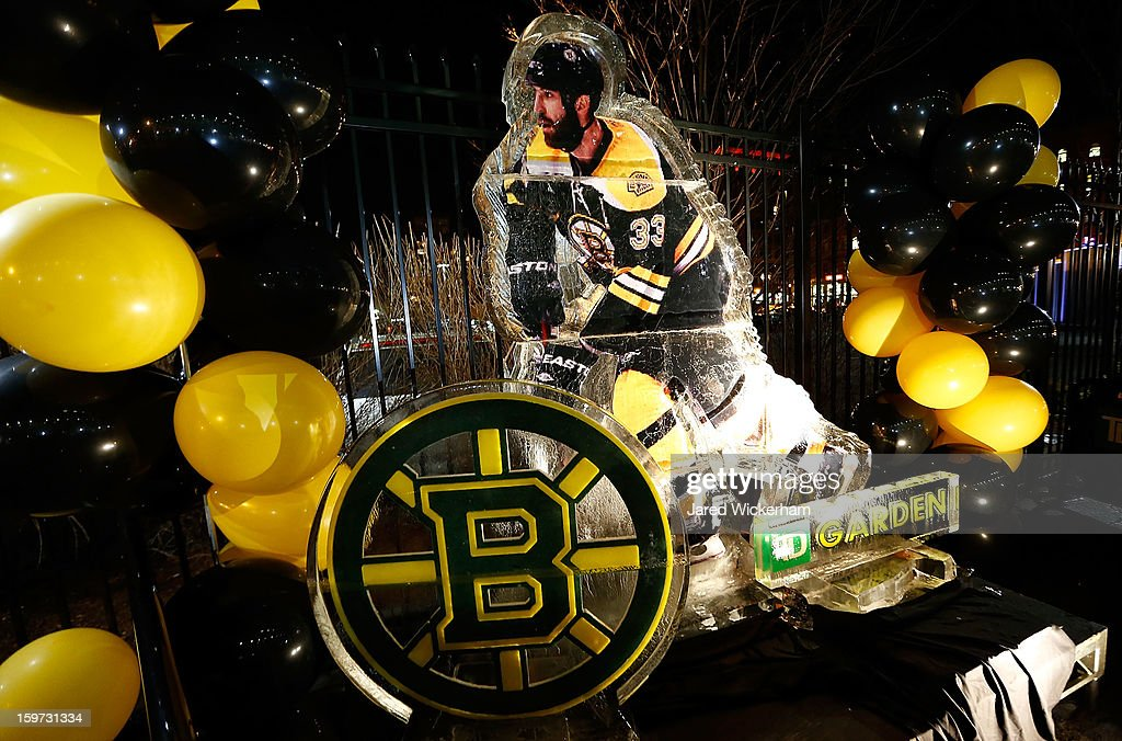 An ice sculpture of Zdeno Chara #33 of the Boston Bruins prior to the game against the New York Rangers during the season opener on January 19, 2013 at TD Garden in Boston, Massachusetts.