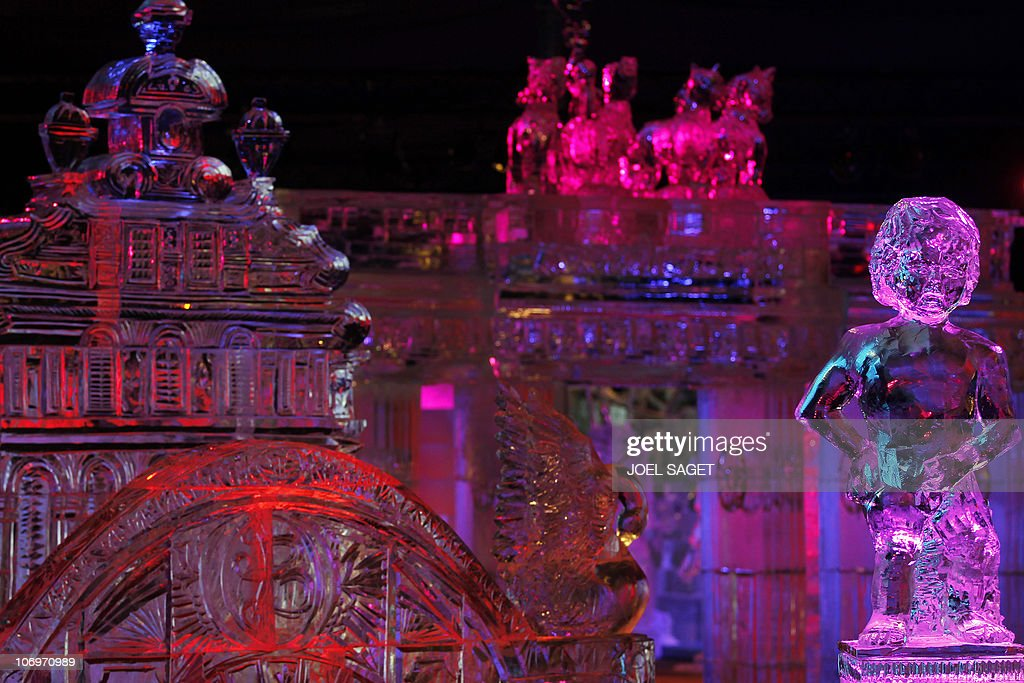 An ice sculptures showing a Manneken Pis and the Brandenburg's gate are exhibited on November 19, 2010 in Paris in a hall where the temperature is kept at -6°C as part of the exhibition Ice Magic world tour.