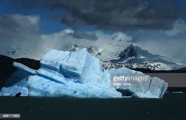 An iceberg broken off from a melting glacier floats in Lake Argentino which holds runoff water from the Southern Patagonian Ice Field the third...
