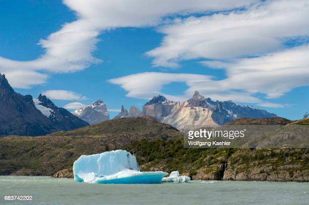 An iceberg is floating in Grey Lake in Torres del Paine National Park in southern Chile