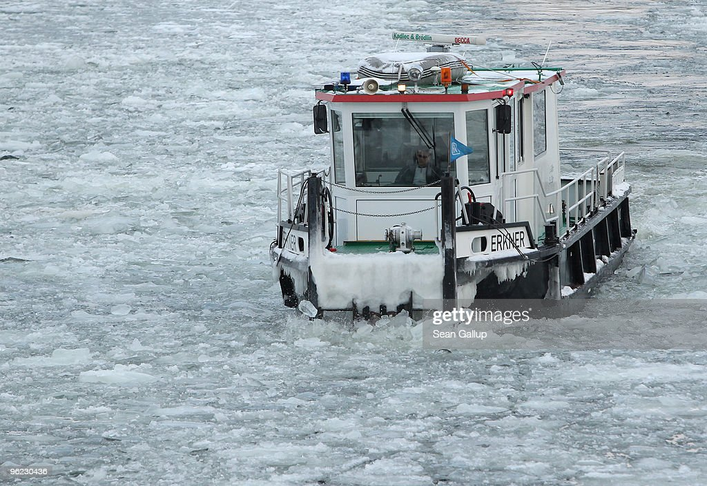 An icebreaker churns through ice in the Dahme river in the district of Koepenick on January 28, 2010 in Berlin, Germany. Though temperatures are mild today at around 0 degrees Celsius, northeastern Germany has struggled through a cold front in the last week that brought temperatures down to -20 degrees Celsius, and forecasters say they expect a new cold front to hit the region by the weekend.