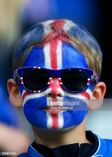 An Iceland fan looks on during the UEFA Euro 2016 Group F match between Portugal and Iceland at Stade GeoffroyGuichard on June 14 2016 in...