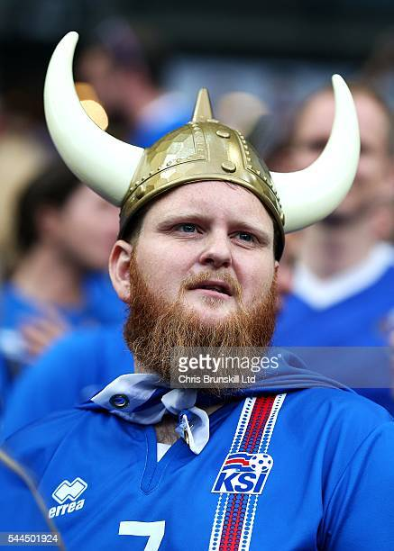 An Iceland fan looks on during the UEFA Euro 2016 Quarter Final match between France and Iceland at Stade de France on July 03 2016 in Paris France