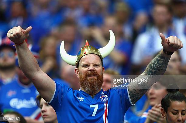 An Iceland fan shows his support prior to the UEFA EURO 2016 quarter final match between France and Iceland at Stade de France on July 3 2016 in...