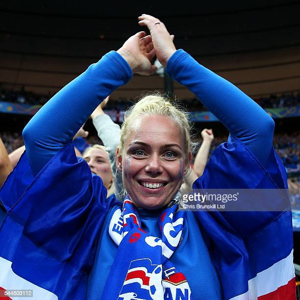 An Iceland fan supports her team during the UEFA Euro 2016 Quarter Final match between France and Iceland at Stade de France on July 03 2016 in Paris...