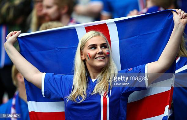 An Iceland supporter enjoys the atmosphere prior to the UEFA EURO 2016 quarter final match between France and Iceland at Stade de France on July 3...