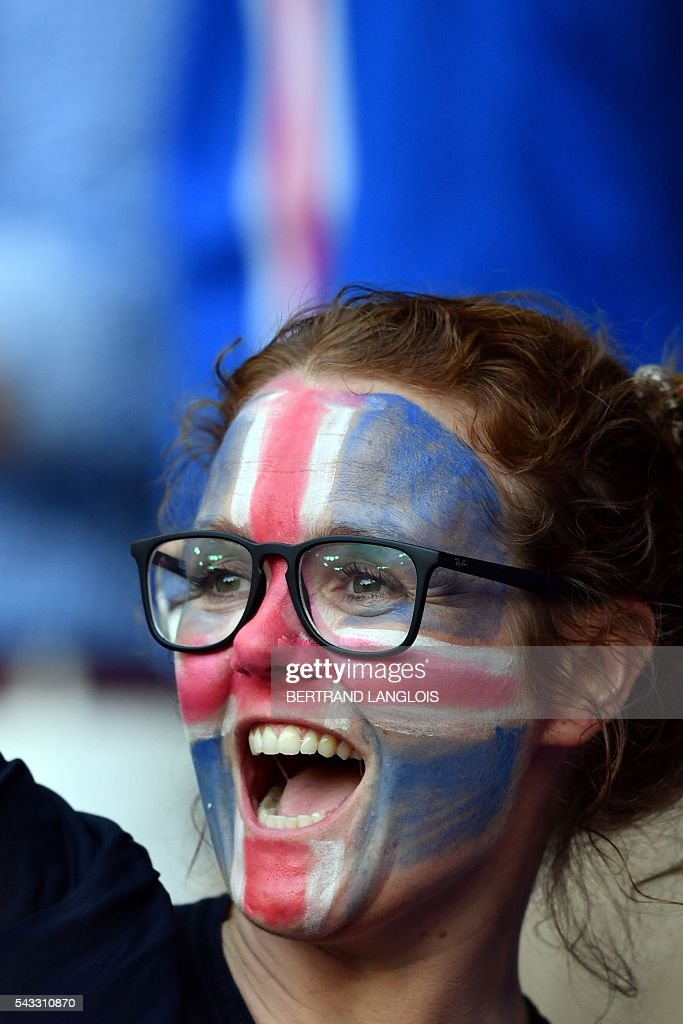 An Iceland supporter is pictured ahead the Euro 2016 round of 16 football match between England and Iceland at the Allianz Riviera stadium in Nice on June 27, 2016. / AFP / BERTRAND