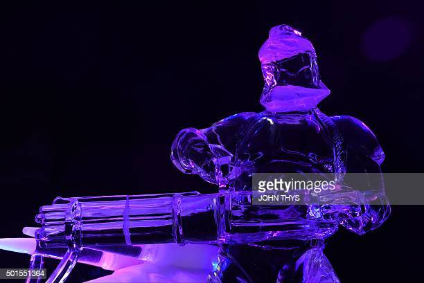 An icesculpture in the form of Star Wars character Clone Trooper is displayed during the Star Wars Ice sculpture festival in Liege on December 16 The...