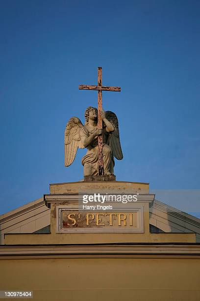 An icon above the church of St Peter on October 30 2011 in Saint Petersburg Russia St Petersburg Russia's second largest city is one of thirteen...