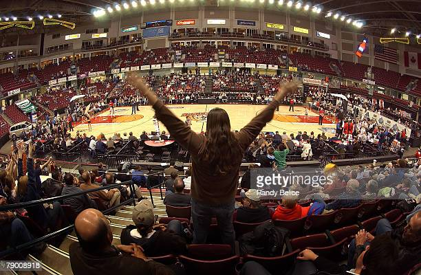 An Idaho Stamped fan cheers on his team during the 2008 NBA Development League Showcase game against the Rio Grande Valley Vipers on January 15 2008...