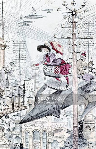 An idea of the world as it would be in 1953 1883 A young lady paying calls by personal airship among maze of telegraph and telephone wires From Le...