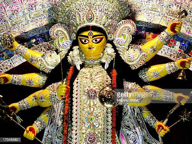 An idol of the Goddess Durga during the fourday long Durga Puja festival in Kolkata India October 182007
