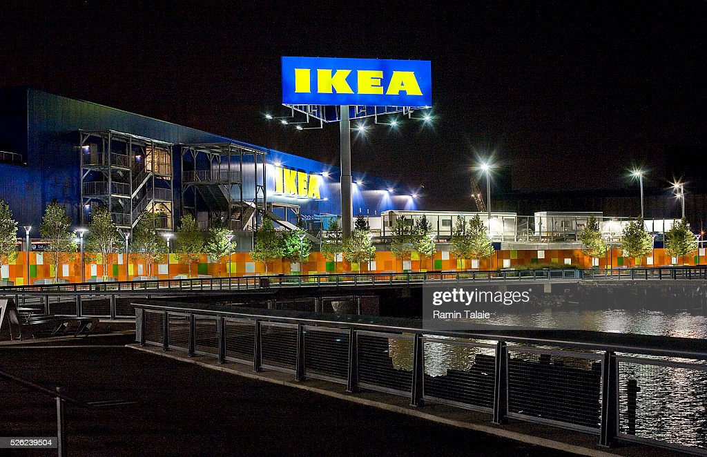 An Ikea billboard shines next to the Ikea store in the Red Hook section of Brooklyn