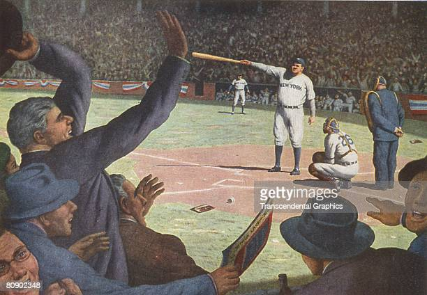 An illlustration of Babe Ruth calling his shot in the fifth inning of the third game 1932 World Series He then proceeded to hit a homerun where he...