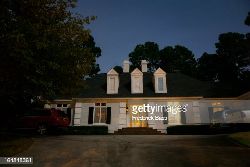 An illuminated house at night