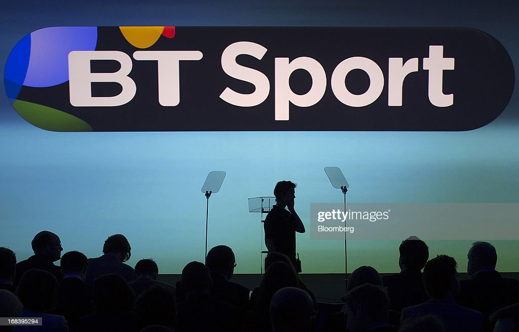 An illuminated logo for BT Sport is seen during the launch of BT Group Plc's new sports television channel, at the company's offices inside the former London 2012 Olympic Broadcast Center in London, U.K., on Thursday, May 9, 2013. British Sky Broadcasting Group Plc, the U.K.'s largest pay-TV broadcaster, fell the most in almost a year after BT Group Plc unveiled sports channels to compete with the Rupert Murdoch-controlled satellite operator. Photographer: Simon Dawson/Bloomberg via Getty Images