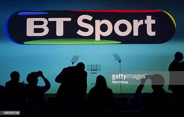 An illuminated logo for BT Sport is seen during the launch of BT Group Plc's new sports television channel at the company's offices inside the former...