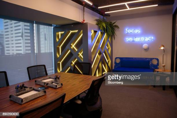 An illuminated sign reads 'Focus On Impact' in a classroom at the Facebook Inc Hack Station in Sao Paulo Brazil on Monday Dec 11 2017 The Facebook...