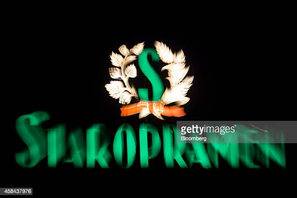 An illuminated sign sits on display at the Pivovary Staropramen AS brewery operated by Molson Coors Brewing Co in Prague Czech Republic on Tuesday...