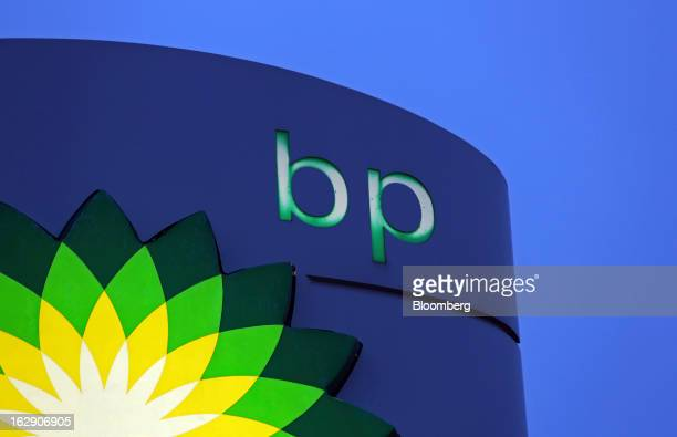 An illuminated sign stands on the forecourt of a BP gas station operated by BP Plc in Upminster UK on Thursday Feb 28 2013 BP Plc's push to maximize...