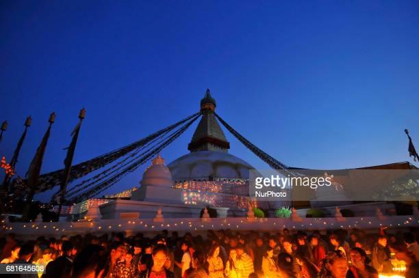 An illuminated view of Boudhanath Stupa during celebration the 2561 Buddha Purnima festival Birth Anniversary of Lord Gautam Buddha at Kathmandu on...