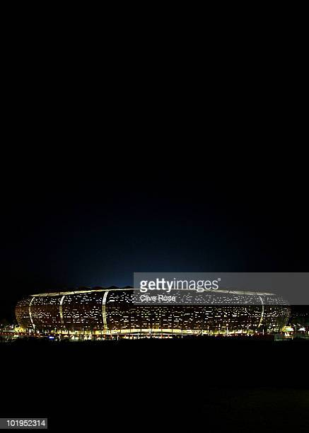 An illuminated view of the Soccer City Stadium prior to the 2010 FIFA World Cup South Africa on June 10 2010 in Johannesburg South Africa