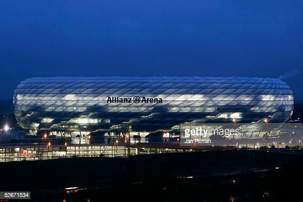 An illumination test is run on the Allianz Arena on April 20 2005 in Munich The Allianz Arena will be the future home stadium of soccer clubs FC...