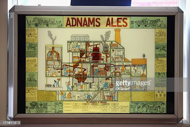 An illustrated crosssection of beer production is displayed in the Brew House of Adnams brewery on June 25 2013 in Southwold England Established in...