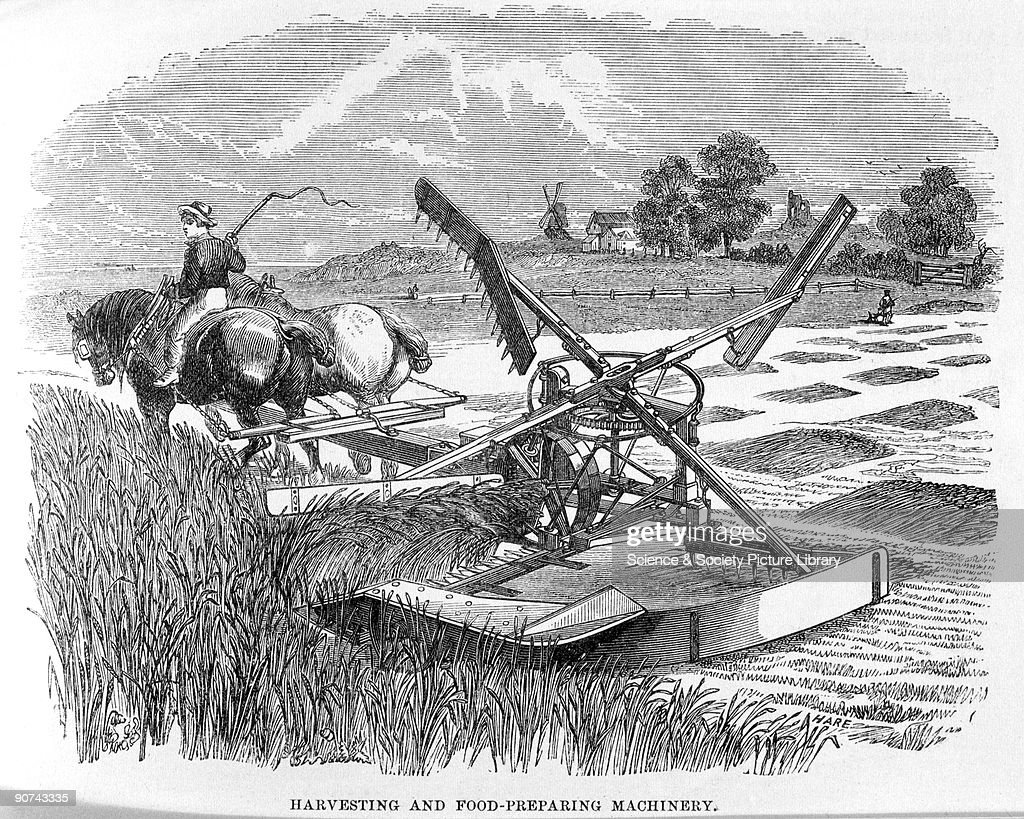 An illustrated plate from the trade catalogue of the 1862 Great Exhibition in London advertising agricultural machines The harvesting machinery is...