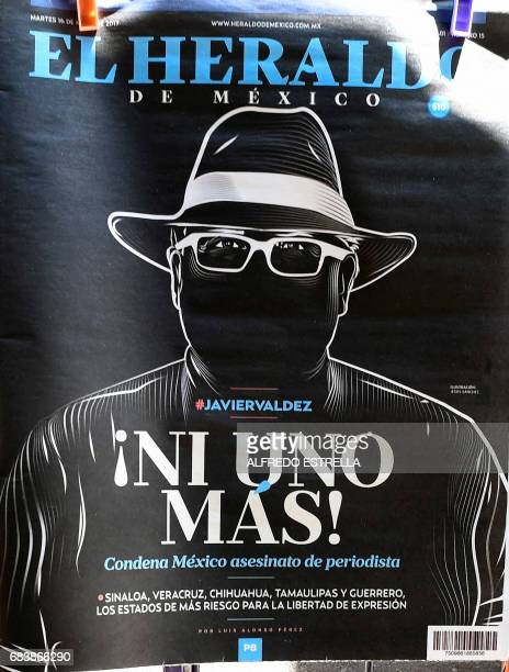 An illustration allusive to Mexican journalist Javier Valdez murdered on the eve is on the front page of El Heraldo Mexican newspaper in Mexico City...
