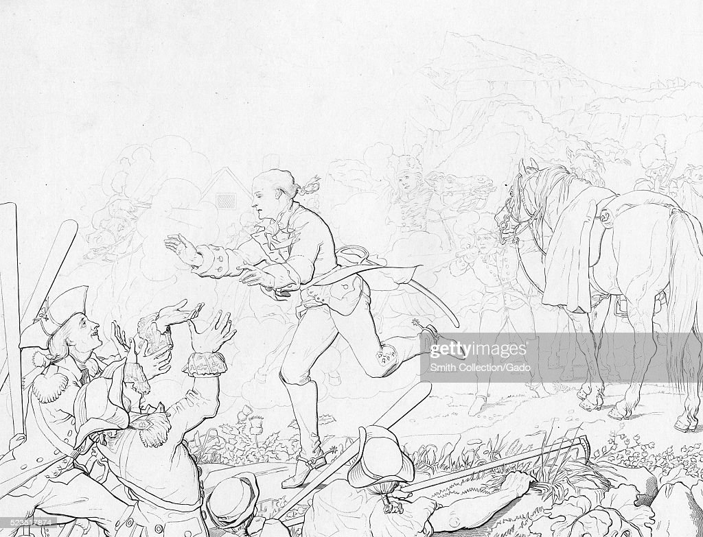 An illustration depicting the escape of Sergeant John Champe from the Britsh during the American Revolutionary War he acted as a doubleagent by...