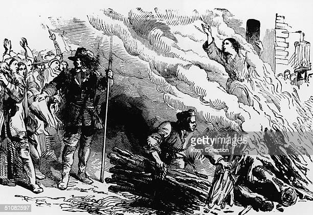 An illustration depicts a woman being burned at the stake for the crime of engaging in witchcraft circa 1692
