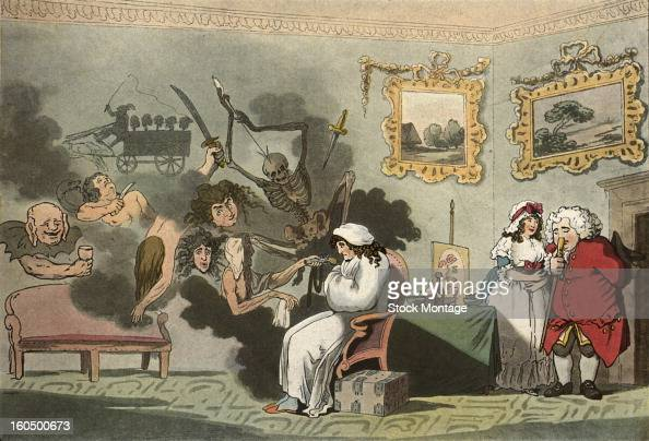 An illustration entitled 'The Hypochondriac' depicts a man in a nightgown seated in a room and surrounded by fantastical deathrelated images 1788 At...