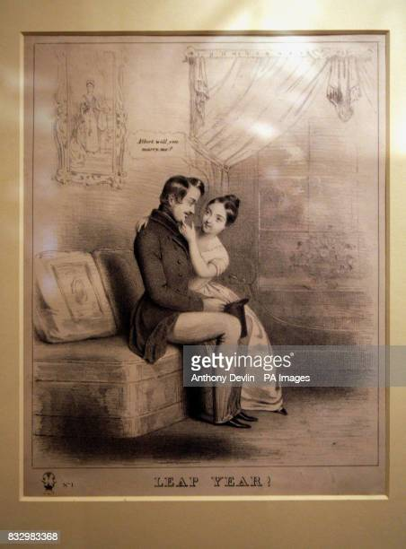An illustration from 1840 titled Leap Year shows Queen Victoria proposing to Prince Albert at Windsor Castle in 1839