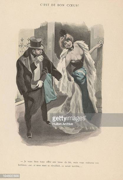 An illustration from a saucy publication depicts a gentleman walking a married lady to her door after an evening out circa 1890