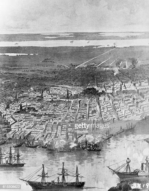 An illustration from Campfires and Battlefields by Rossiter Johnson et al titled a 'Panoramic View of New Orleans Federal Fleet at Anchor in the...
