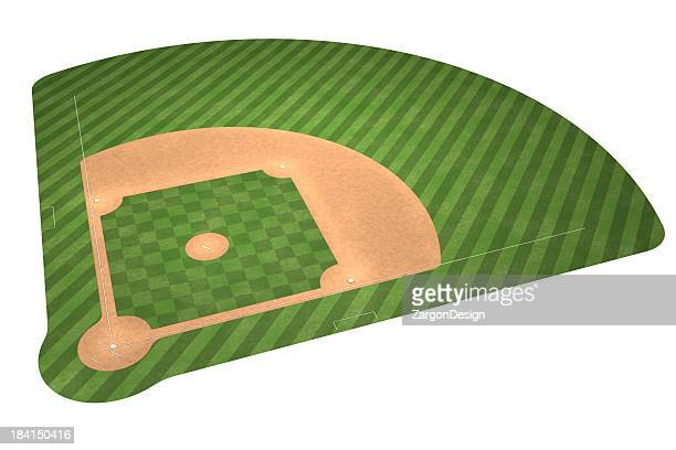 An illustration of a baseball field isolated on white