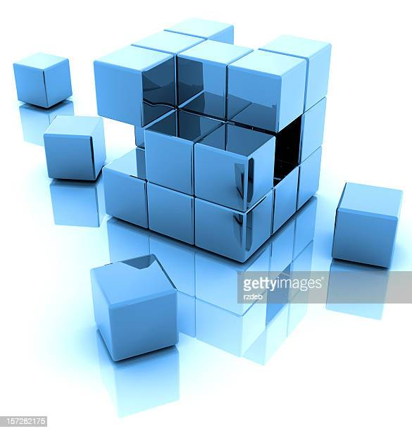 An illustration of a blue 3D blocks with a reflection