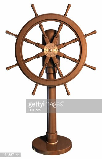 An illustration of a boat wheel made of wood