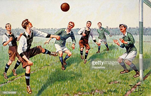 An illustration of a football match featured on a vintage colour postcard published circa 1935