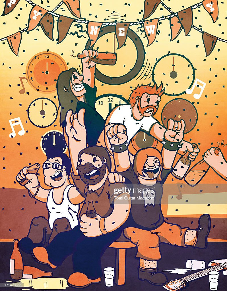 An illustration of a group of musicians celebrating New Years Eve, created for Total Guitar Magazine, December 3, 2012.